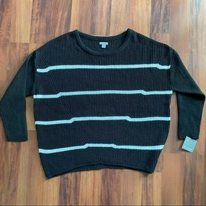 Falls Creek 1x sweater black white stripped pull over sweater